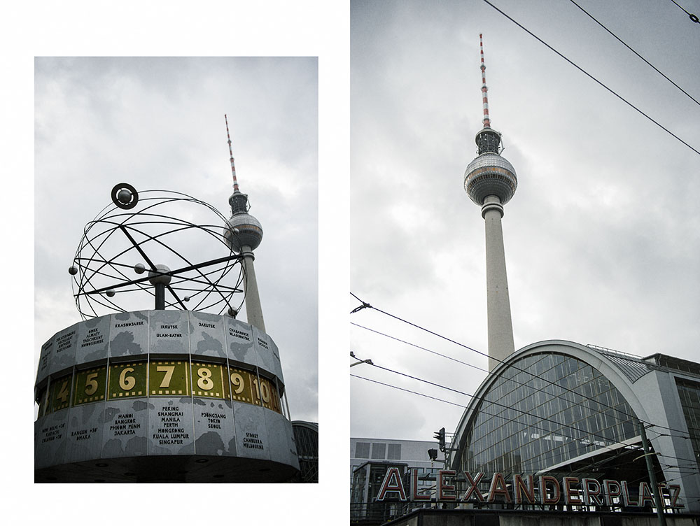 berlin, alexanderplatz, weltzeituhr, atom, autumn, clouds, dark