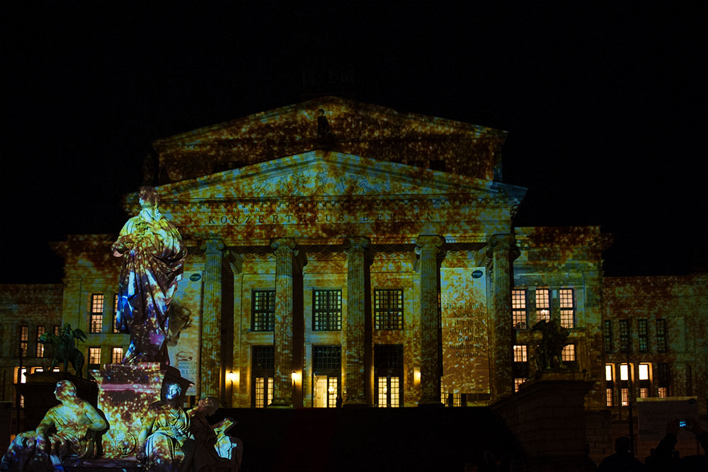 berlin, festival of lights, dark, night, event, autumn, gendarmenmarkt, konzerthaus