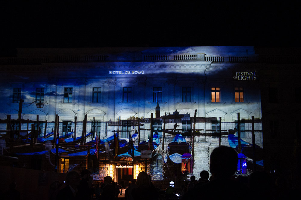berlin, festival of lights, dark, night, event, autumn, hotel de rome, venice
