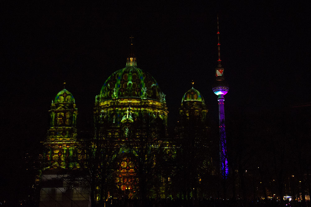 berlin, festival of lights, dark, night, event, autumn, berliner dom,, fernsehturm