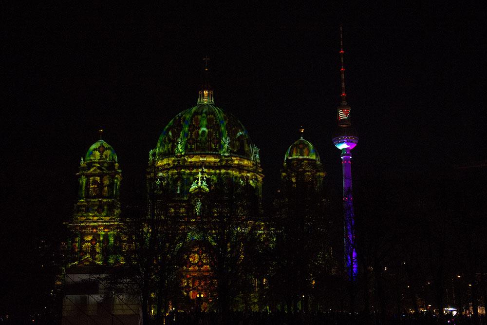 berlin, festival of lights, dark, night, event, autumn, berliner dom,, fernsehturm