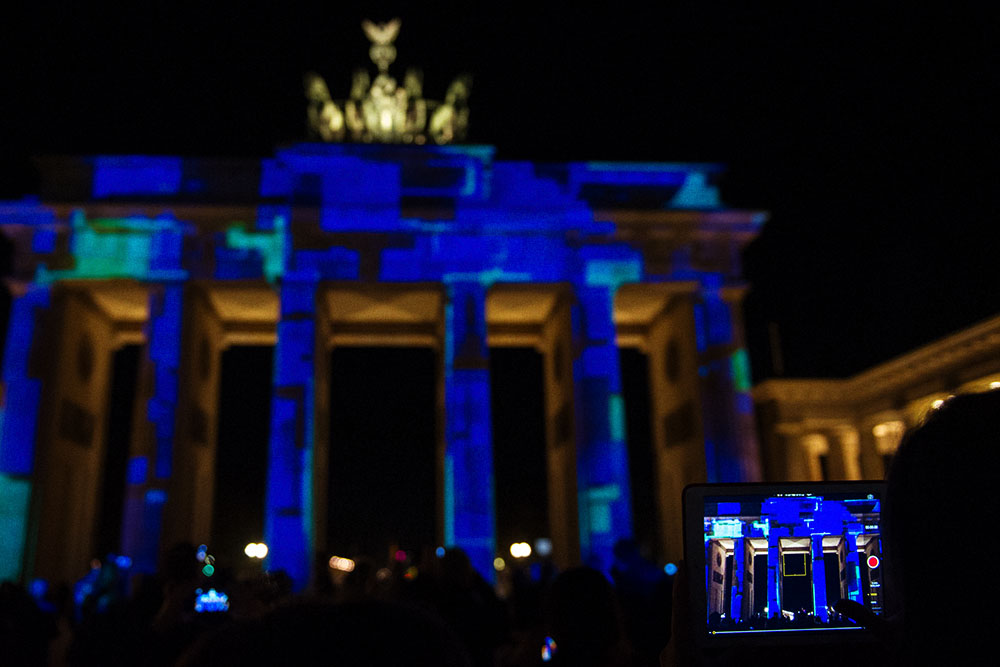 berlin, festival of lights, dark, night, event, autumn, berliner dom,, brandenburger tor