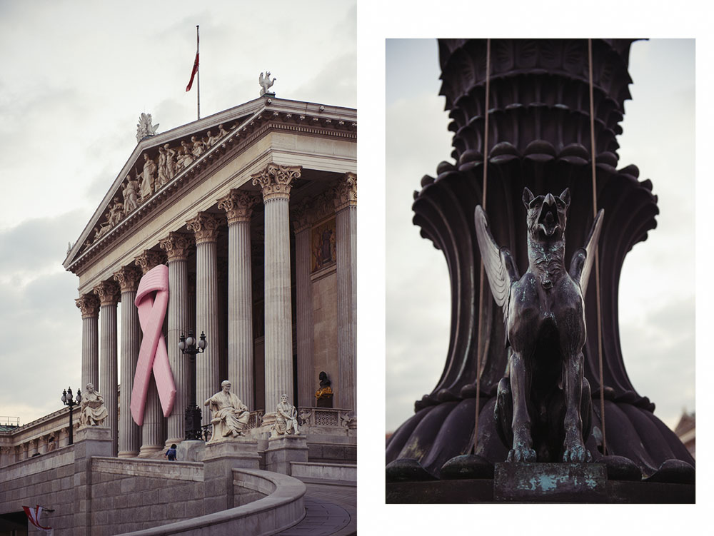 pink ribbon, october, parliament, vienna, austria