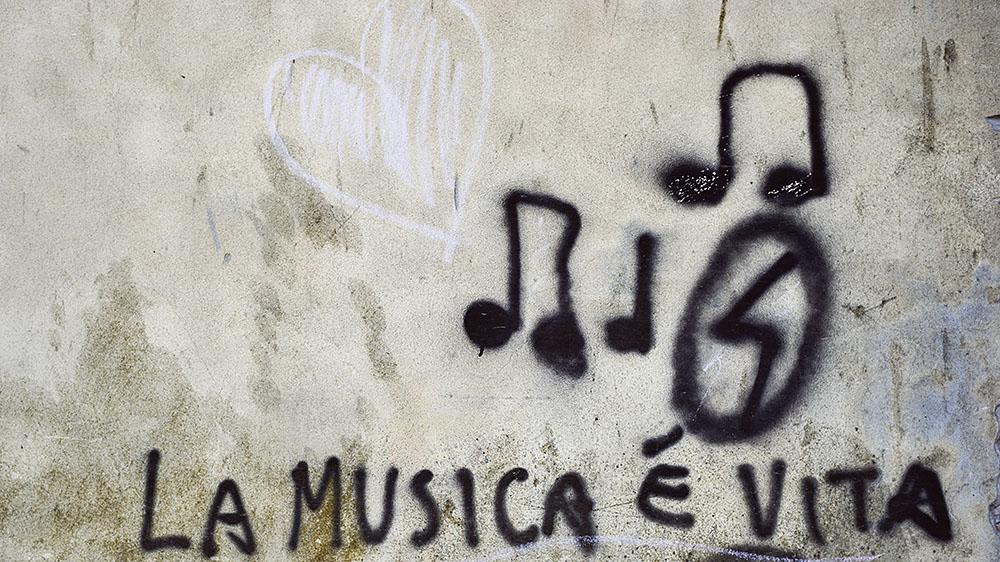 venice, streetart, italy, graffiti, music