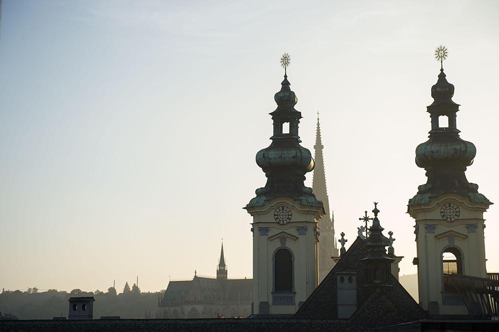 linz, sunset, über den dächern