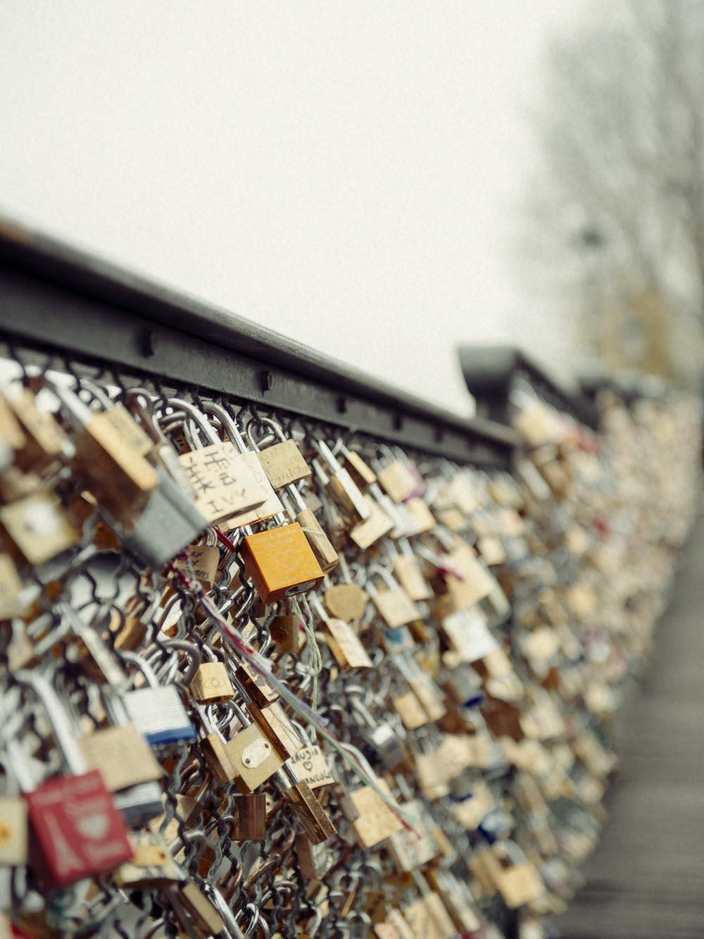 Paris, bridge, love, winter