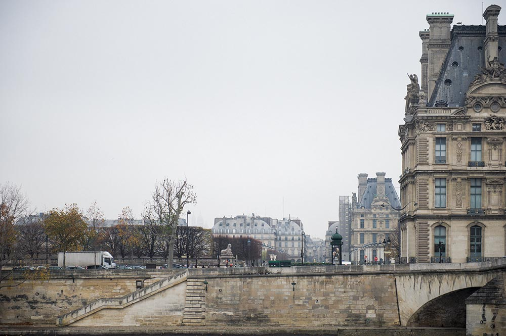 paris, seine, pastel, winter, grey, fog, cold, winter