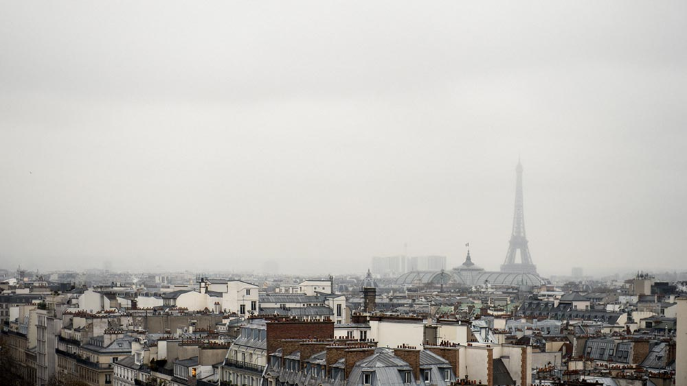 Paris, Tour Eiffel, Lafayettes, Panorama, sky, grey, winter, cold