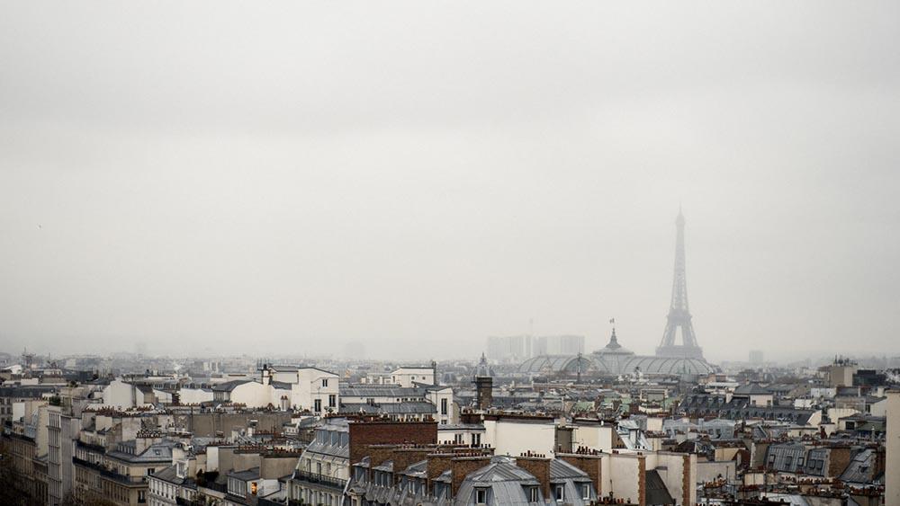 Paris, Tour Eiffel, Lafayettes, Panorama, sky, grey, winter, cold
