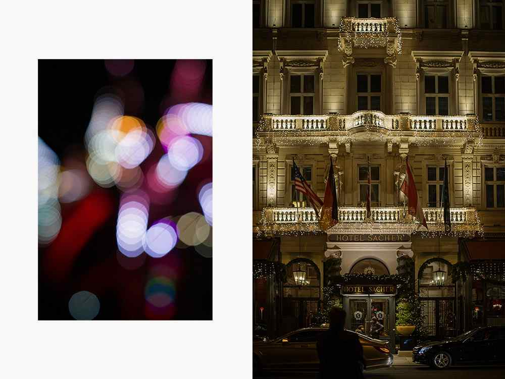 citylights, vienna, at night, 1010, hotel sacher