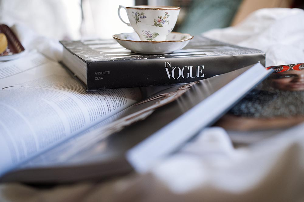 vogue, sunday morning, breakfast, bed, tea, book, love