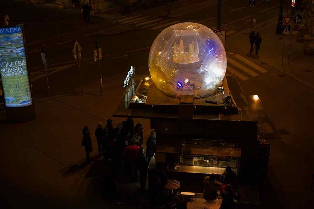 citylights, vienna, at night, 1010, würstlstand oper