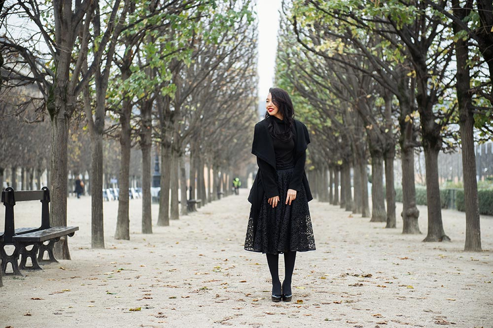 paris, palais royal, morning, winter, cold, fun, cute girl
