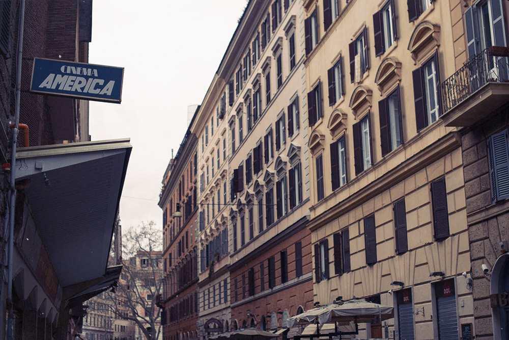 rome, italy, blue, red, city, typography, cinema americana