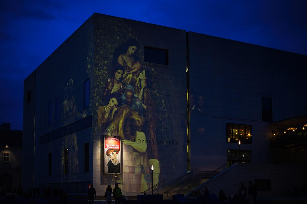 leopold museum, lifeball, mq, vienna, sunset, projection