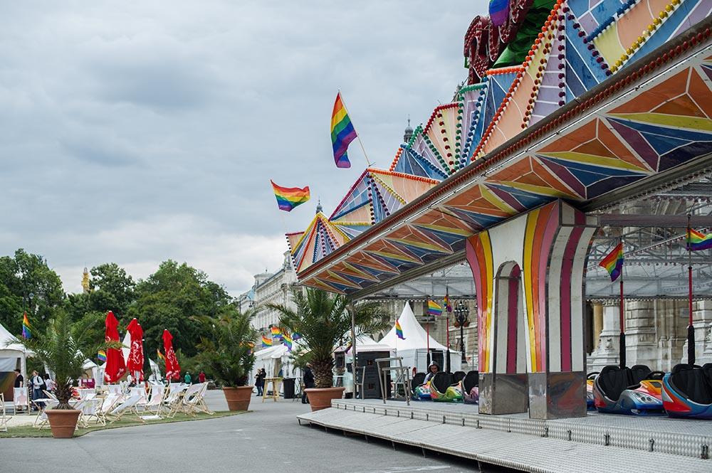 vienna, pride, pride village, rathausplatz, austria, rainbow, autodrome