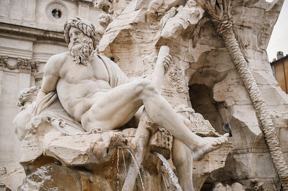 rome, fountain, summer