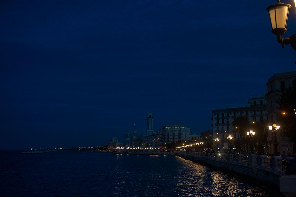 bari, lungomare di bari, sea, blue, blue hour, heaven, italy