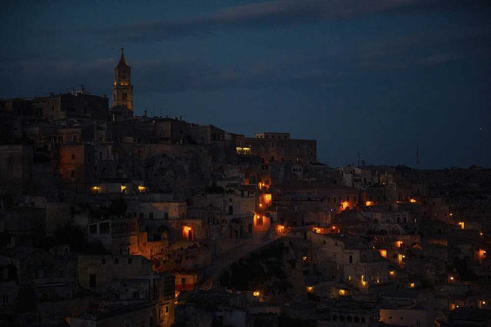 matera, italy, sunset, blue hour, basilicata