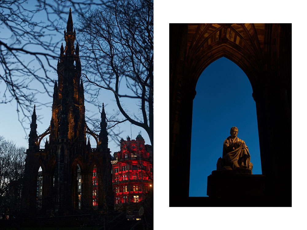 edinburgh, castle, night, scotland, spring, uk, blue hour