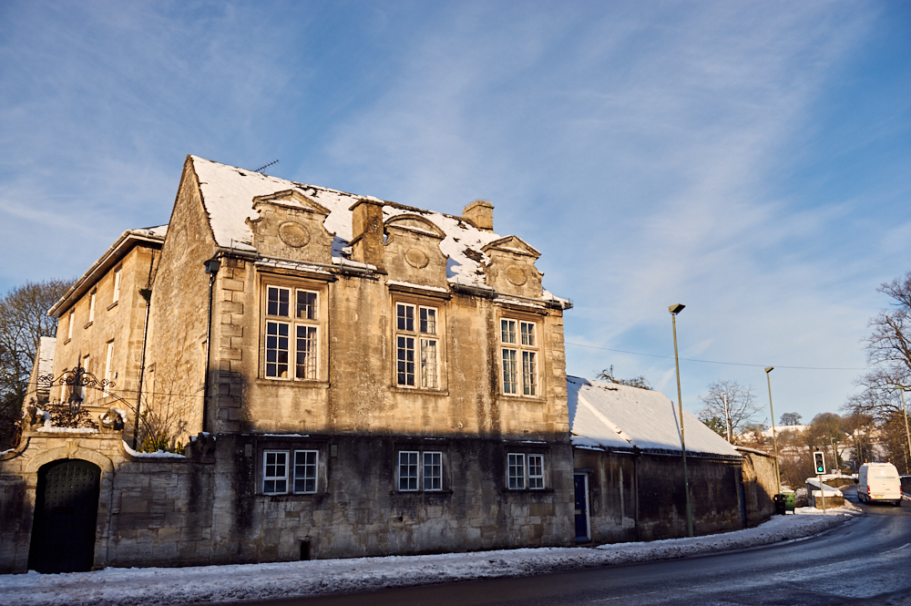 cotswolds, england, snow, winter, uk, burford, blue sky