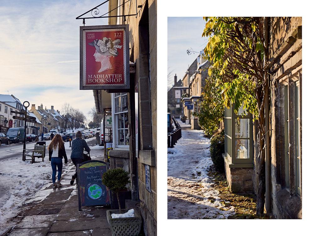 cotswolds, england, snow, winter, uk, burford, blue sky