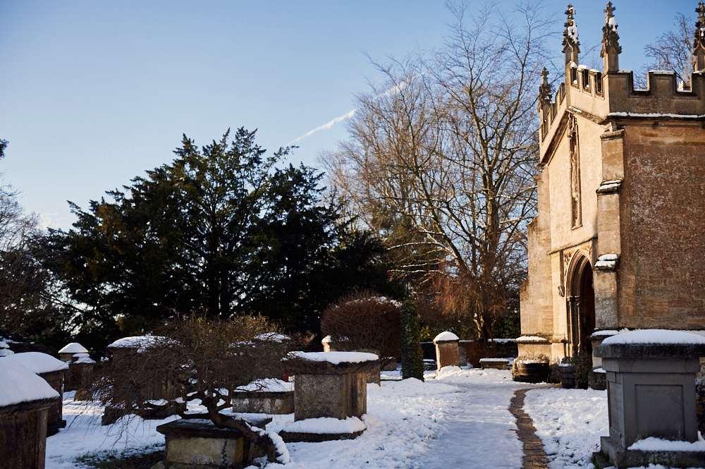 cotswolds, uk, england, fairford, snow, winter wonderland, sunshine, blue sky,