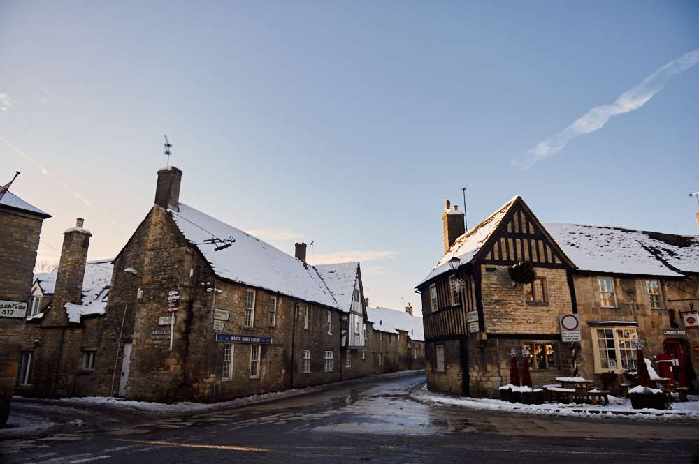 cotswolds, uk, england, fairford, snow, winter wonderland, sunshine, blue sky,