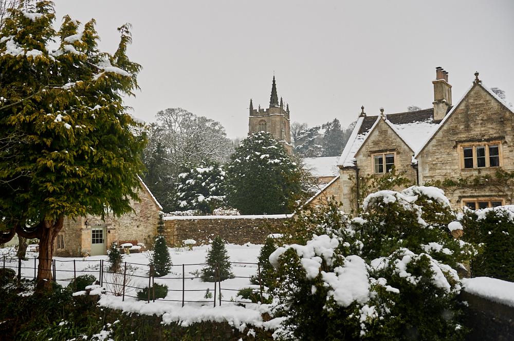 castle combe, the cotswolds, wiltshire, england, uk, winter, snow, winter wonderland, cottages,