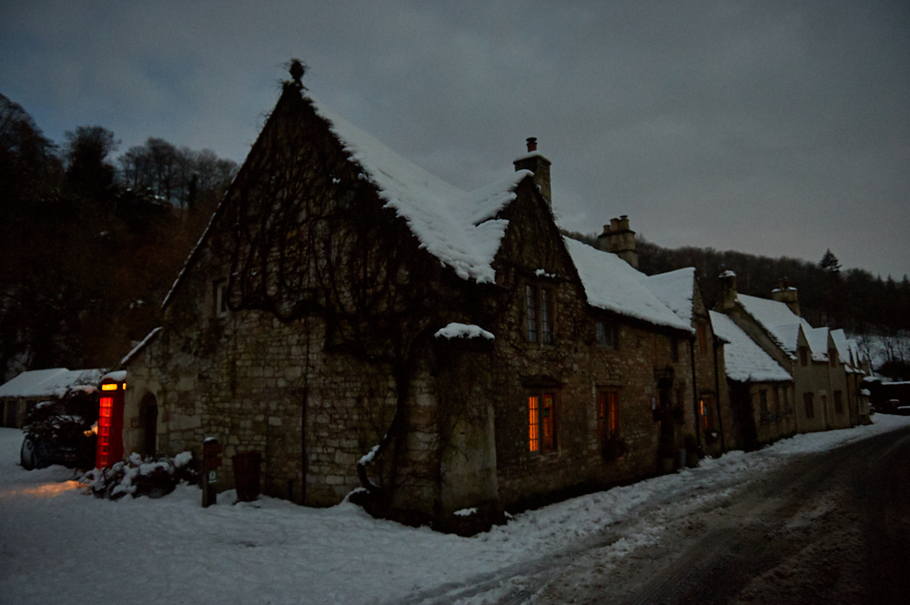 castle combe, the cotswolds, wiltshire, england, uk, winter, snow, winter wonderland, cottages,