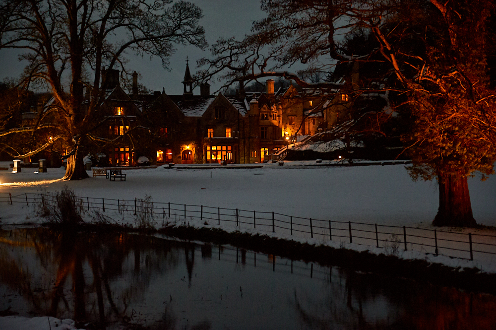 castle combe, the cotswolds, wiltshire, england, uk, winter, snow, winter wonderland, cottages, manor house