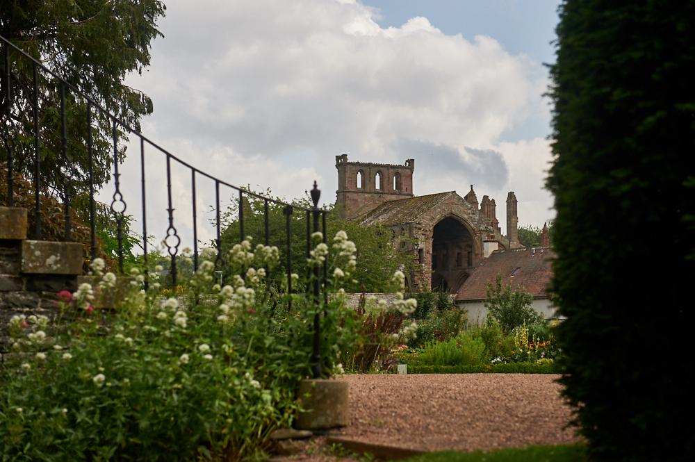 The Harmony Garden next to Melrose Abbey in the Scottish Borders, Scotland, United Kingdom