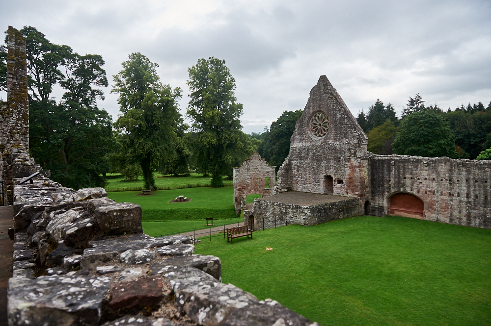 Dryburgh Abbey in the Scottish Borders, a romantic ruin and the grave of Sir Walter Scott.