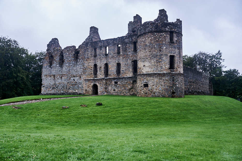 Balvenie Castle in Dufftown, Scotland is a beautiful ruin of an imposing castle.