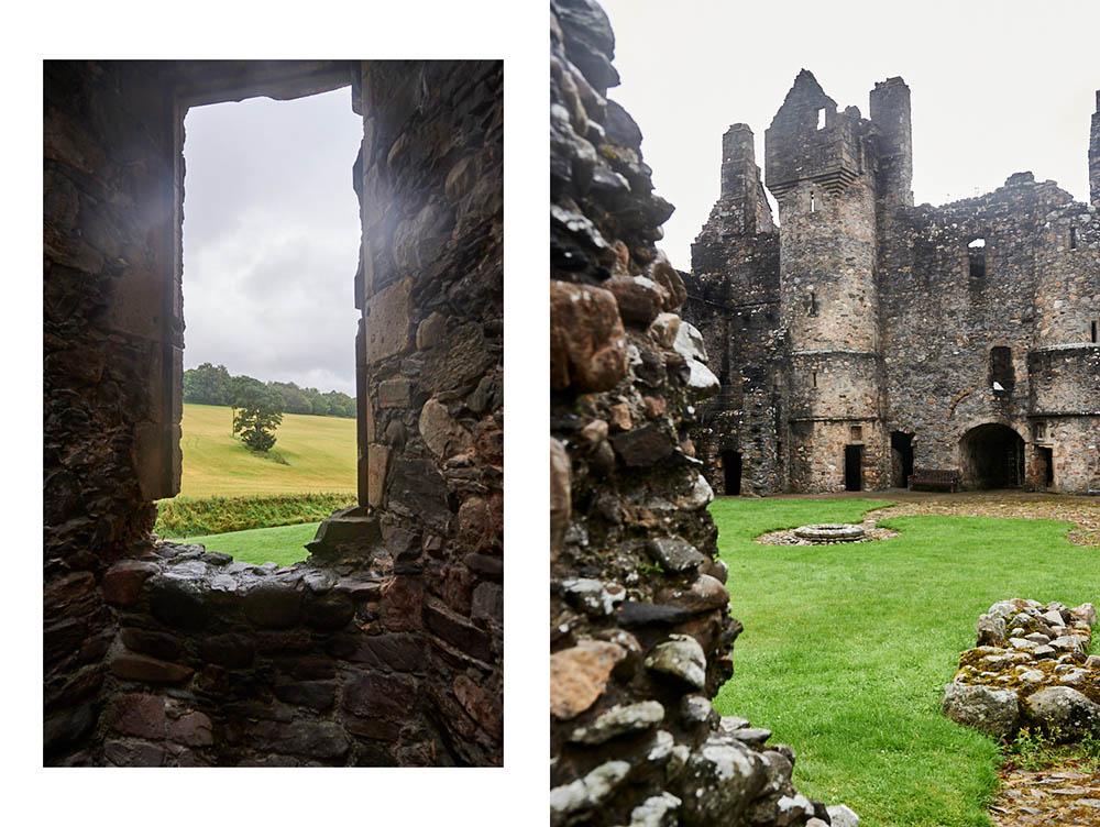 Balvenie Castle in Dufftown, Scotland is a beautiful ruin of an imposing castle.