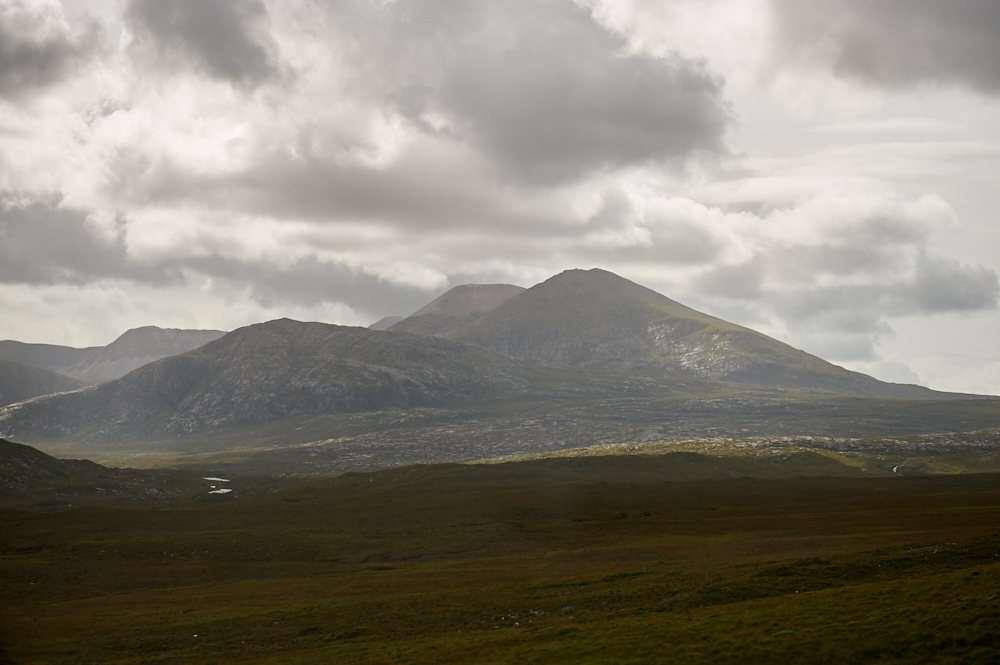 Driving along the NC500 in the North of Scotland, from Balnakeil to Assynt Viewpoint.