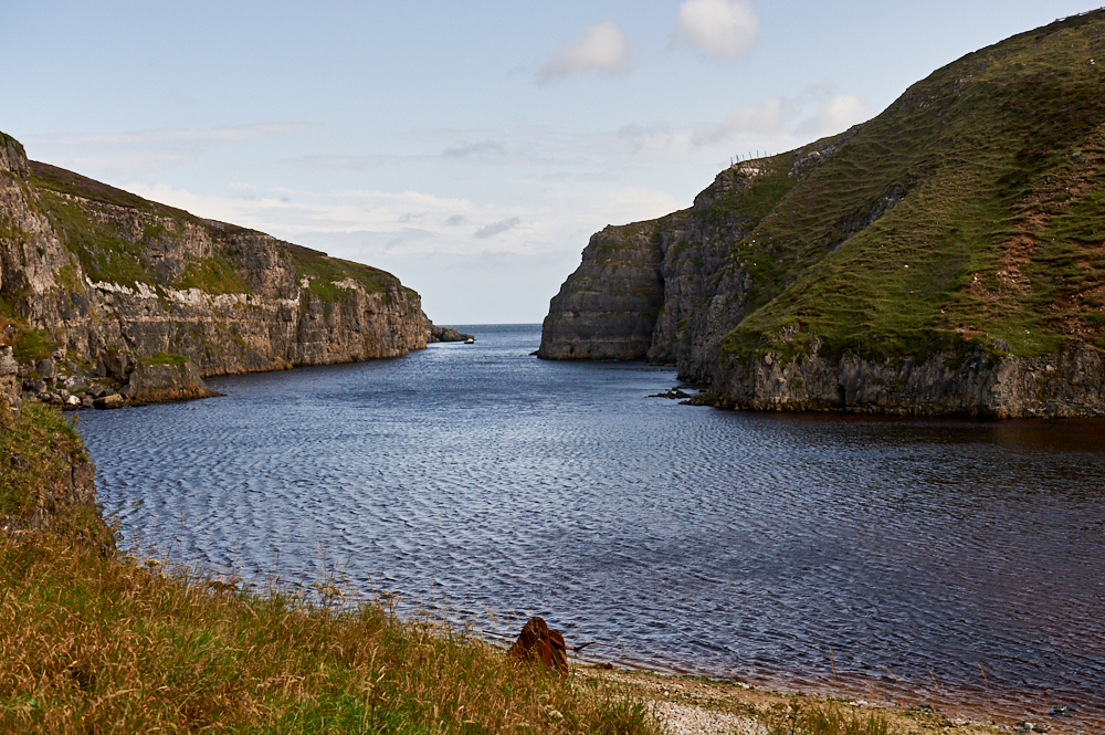 Smoo Cave, a large seawater and freshwater cave on the North Coast of Scotland.