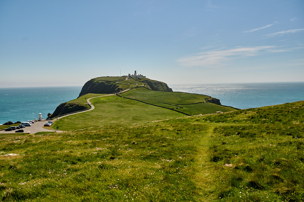 Walking around Sumburgh Head and the lighthouse in Shetland, Scotland.